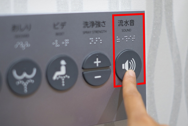 "One example of the ""sound"" button on the control panel on the wall"