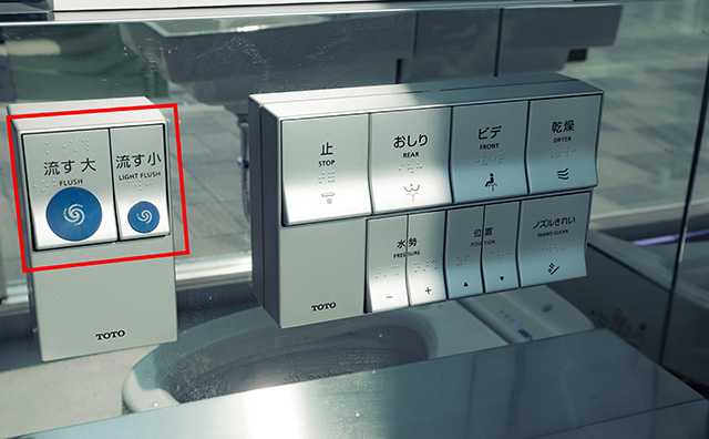 New control panel and this type is more common these days with full and half flush options