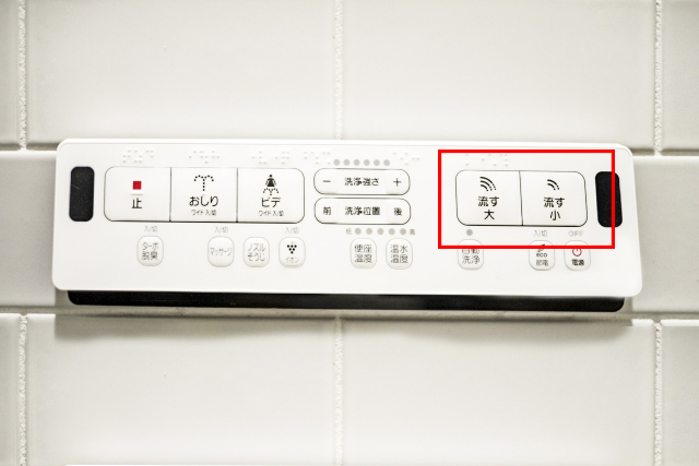 Old type control panel with no English written. Look for the word 流す(flush)