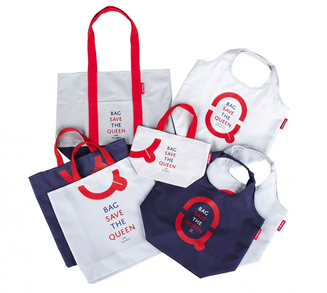 "Eco-friendly shopping bag ""Bag Save the QUEEN and the Earth"" inspired by the British national anthem ""God Save the QUEEN""."