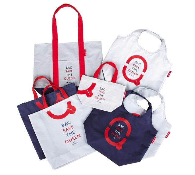 以英國國歌歌詞「God Save The QUEEN」為靈感設計出的環保購物袋「Bag Save the QUEEN and the earth 」