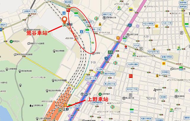 鶯谷站位在上野站的北方
