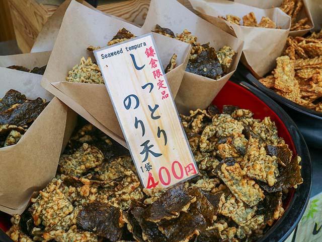 鎌倉限定品のしっとり海苔天 400円(税込)