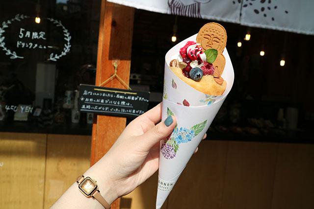 「KANNON COFFEE」の爽やかなブルーベリーが甘酸っぱくて美味しいクレープ!