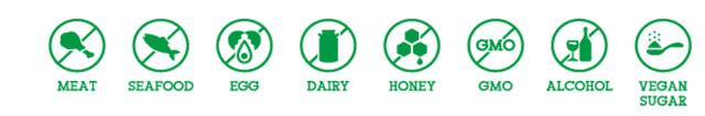 動物性食材・アルコール等を使用していません ※ 「GMO」については該当する商品のみに表示 ※「VEGAN SUGAR」とは動物性の骨等で精製されていない砂糖を示す
