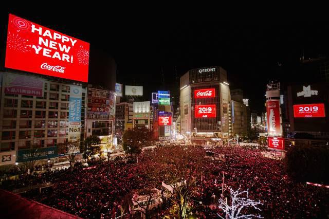 渋谷スクランブル交差点でのカウントダウン