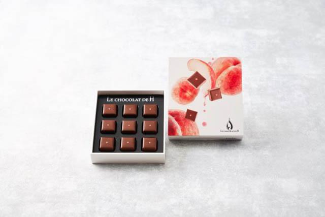 ル ショコラ ドゥ アッシュ「Fruits Chocolat Peche(フリュイショコラ 桃)(9粒入)」2,160円(税込)