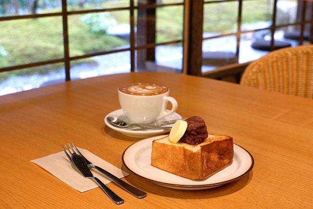 パンとエスプレッソと嵐山庭園 「あんバタートーストセット」800円(税込)