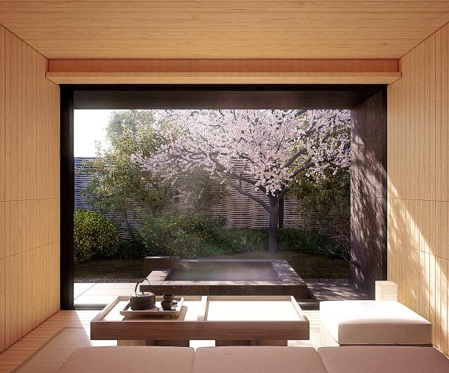 2020年4月に増設した新しいヴィラ「ツキヴィラ」専用の露天風呂温泉