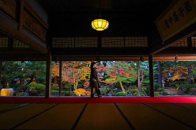 紅葉が美しい北方文化博物館