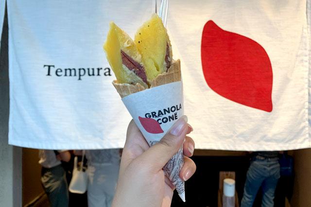 Tempura Motoyoshi いも 暖簾と同じお芋のシールが無料でもらえます