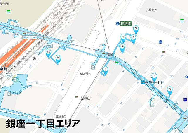 「銀座一丁目」エリア拡大図。アンテナショップが集結しています。