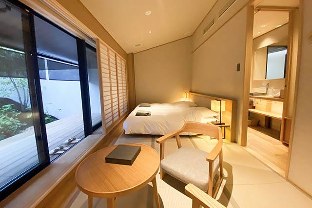 由縁別邸 代田の「露天風呂付デラックスツインルーム 」のお部屋は3名まで宿泊OK