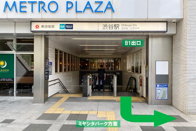 「B1」出口から「MIYASHITA PARK」へは徒歩2分程