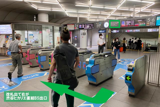 渋谷ヒカリエ2改札を抜けたら、右手が「渋谷ヒカリエ」です