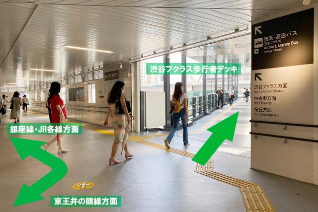 連絡通路「渋谷フクラス歩行者デッキ」への入口