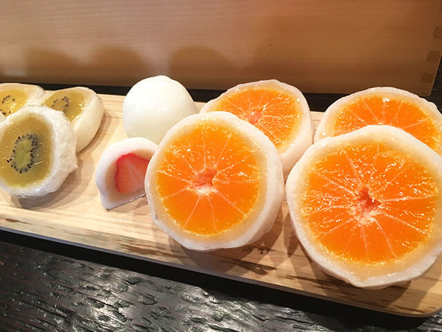 Aside from wagashi (Japanese sweets), Daifuku Mochi filled with fruits are also popular