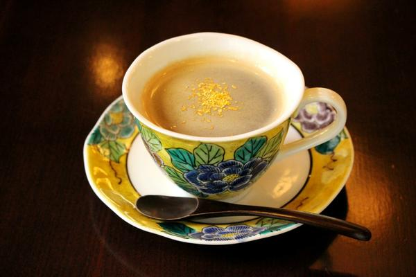 Coffee with edible gold leaf