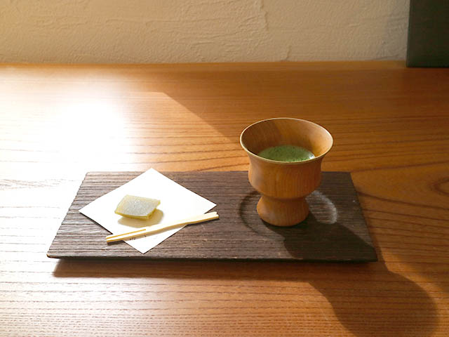 Green tea set with sweets