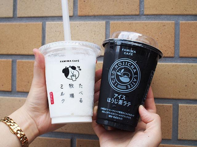 (左)Taberu牧場 FRAPPE冰沙系列 320日圓、(右)焙茶拿鐵 260日圓(含稅)
