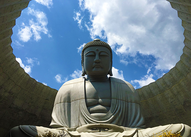 Stone statue of Buddha seen from inside