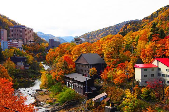 The town of Jozankei Onsen during Autumn foliage