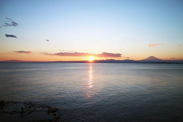 夕陽與富士山的夕陽絕景