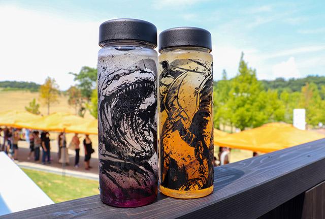 Left: Godzilla Awajishima version with Cranberry Orange soda Right: Radon with Peach Tea