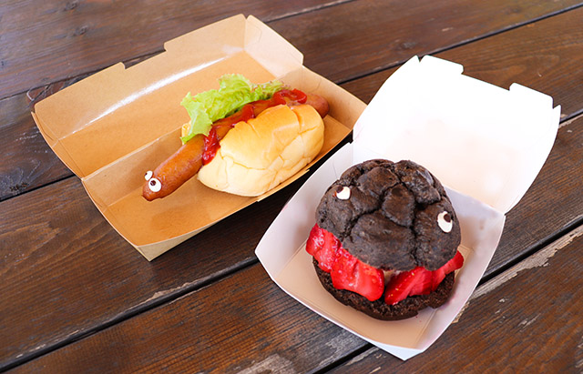 Godzilla themed hot dog and cream puff