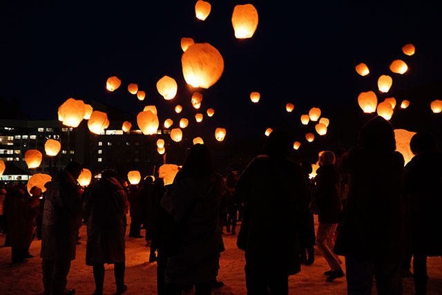 Tsunan Snow Festival with floating lanterns
