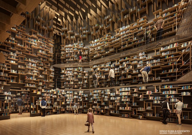 Bookshelves inside the Kadokawa Culture Museum