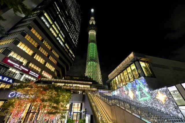 Sky Tree lit up in special Christmas color