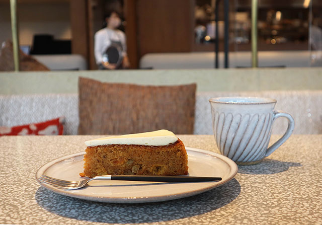 Carrot cake offered at the cafe on the 2nd floor