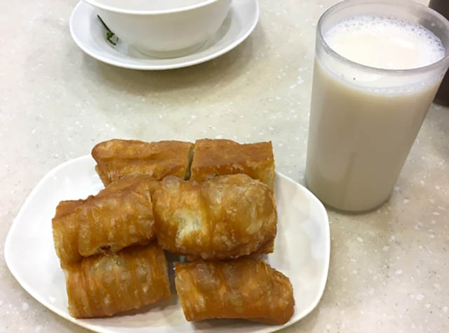 Chinese fried dough with soy milk