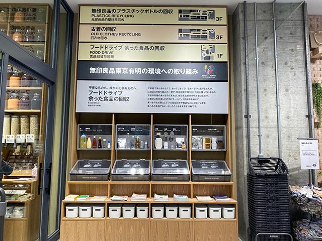 1樓為「食品回收站」、3樓為「舊衣回收站」&「化妝水&乳液瓶身回收站」