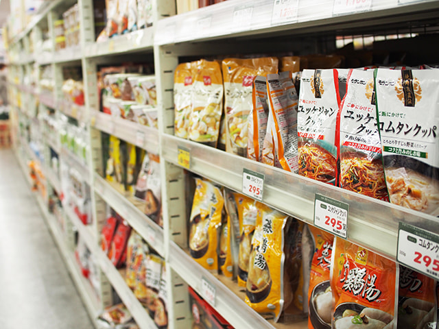 Alley of Korean soups from different brands