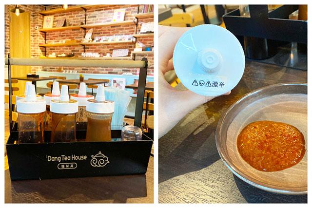 「甜辣醬」、「激辛醬」、「大蒜醬」、「大阪燒醬」、「生薑醬」、「豬排醬」共六種醬汁可自由選擇!