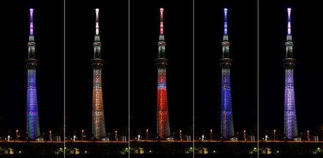 分別為(由左開始)初號機、零號機、2號機、Mark.06 、8號機 / 特別ライティング (C)カラー (C)TOKYO-SKYTREE