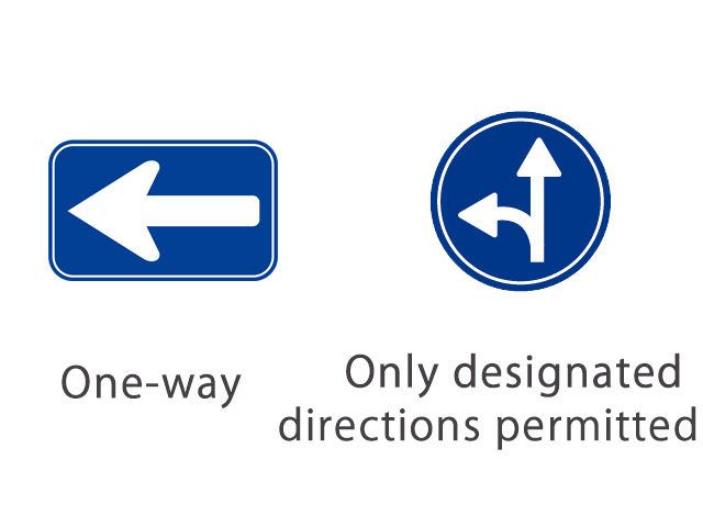 [왼] 일방통행/ [오른]지정 방향 외에 진입 불가