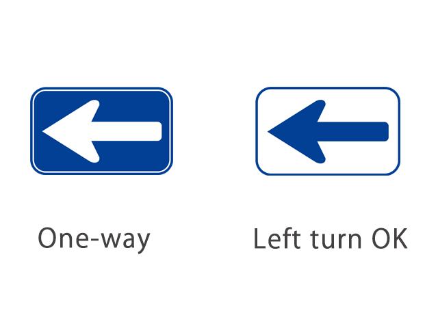 [왼] 일방통행/ [오른] 좌회전