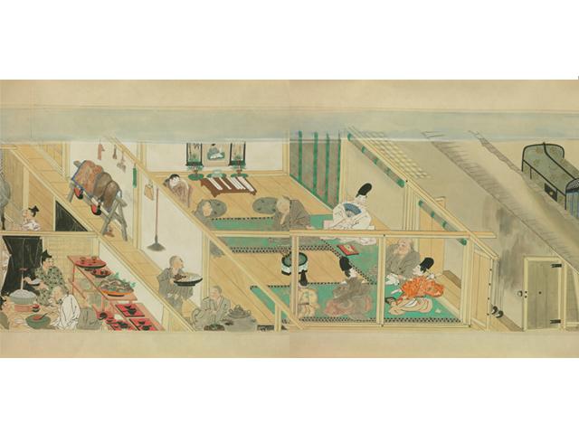 Tea ceremony illustrated in Boki Ekotoba (Source: National Diet Library )