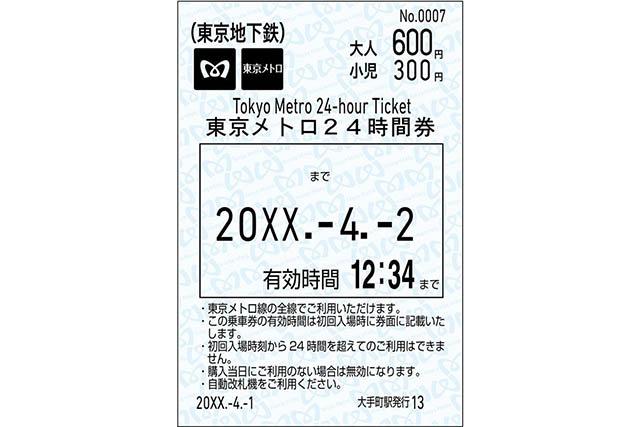 東京メトロ24時間券(当日券) ※イメージ画像