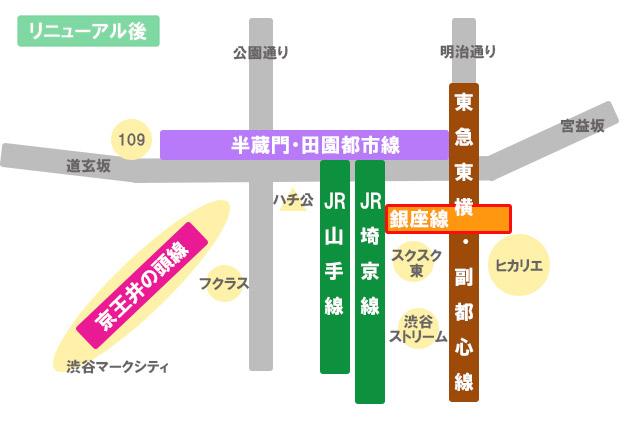渋谷駅リニューアル後 銀座線ホームが移転し、JRのホームは並列に