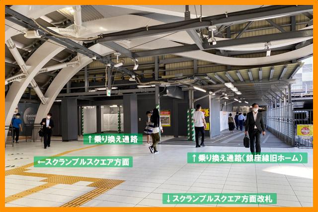 銀座線スクエア方面改札口 旧降車ホームは通路として使用可能