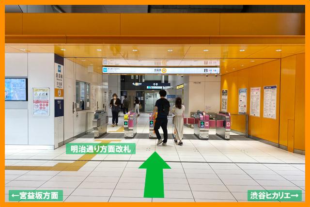 「渋谷ヒカリエ」に到着する前に、「銀座線明治通り方面改札」があります