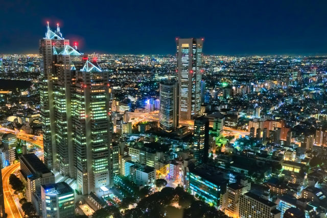 Free City Night View from observatory at Tokyo Metropolitan Government Building