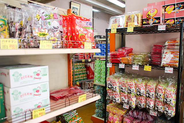 Shelves filled with snacks at Kawara Shoten