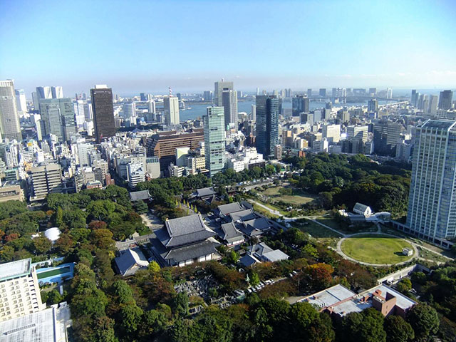 Zojoji Temple seen from Tokyo Tower Observatory Deck