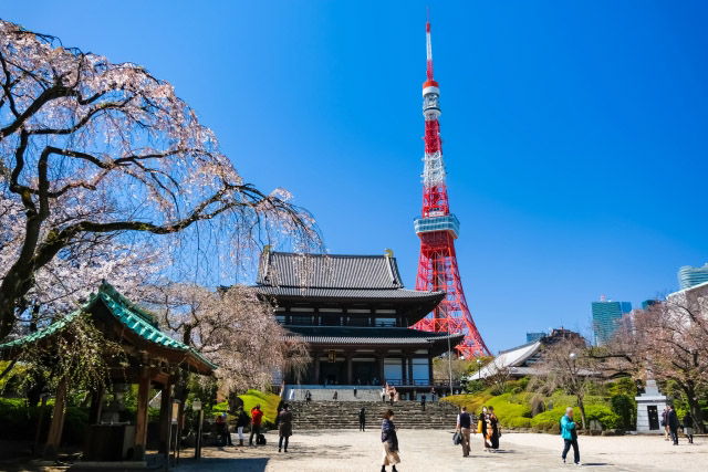 Zojoji Temple with Tokyo Tower in the back