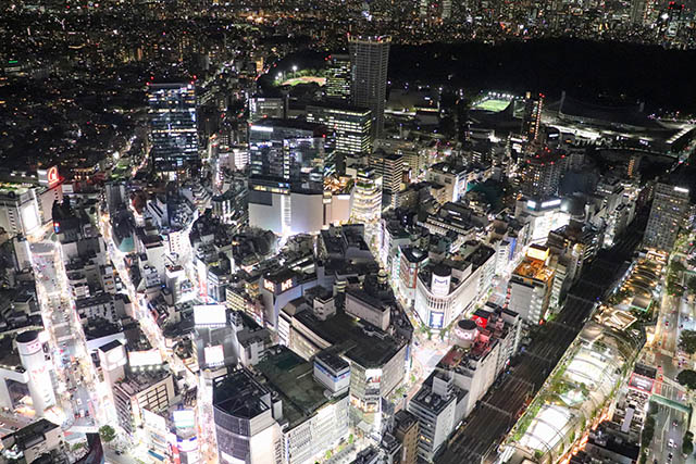 Whole view of Shibuya from Shibuya Sky
